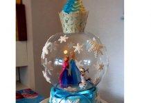 Frozen Eiskönigin Torte (Schneekugel)