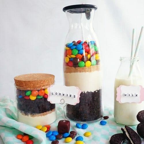 backmischung im glas cookies smarties