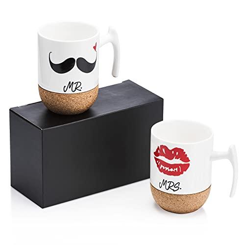 Love-KANKEI® MR & MRS Kaffeetassen Kaffeebecher Set mit Korkboden, Porzellan, 300ml, Ideales Geschenk für Hochzeit, Jubiläum und Weihnachten