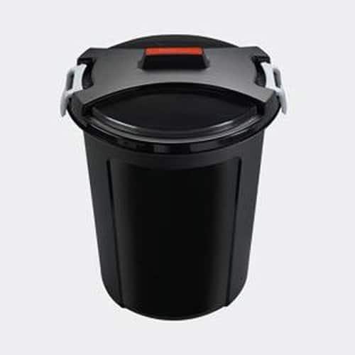 HEIDRUN Universaltonne, Matrix-Tonne, 55 cm Höhe, Ø 48 cm, 46 l, rund, mit Deckel, in schwarz, aus Kunststoff