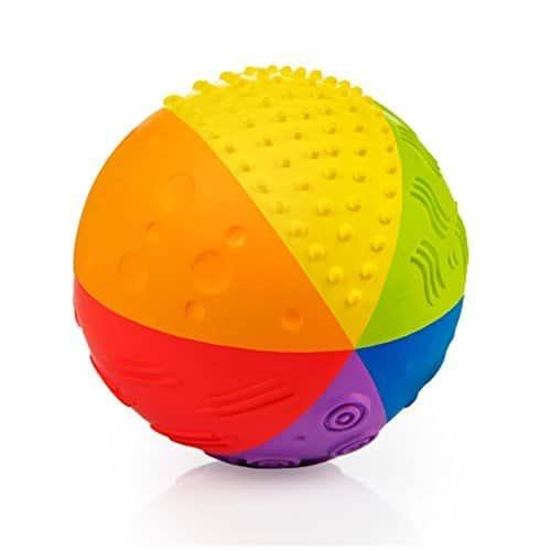 Sensory Ball Regenbogen (10cm) - Bio Motorikspielzeug - Gummiball aus Naturkautschuk - Frei von chemischen Zusatzstoffen: 0% PVC, BPA, Phthalate