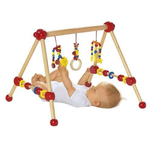 solini Spieltrapez aus Holz - Babyspielzeug mit Kugeln & Ringen - fördert die Motorik - Holztrapez zum Schauen & Greifen - bunt