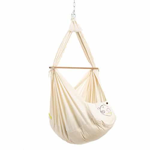 NONOMO Federwiege Baby Set Classic - Baby Hängematte - 100% Bio Baumwolle für Neugeborene und Babies bis 15 Kilo mit Kunstfaser-Matratze und Deckenbefestigung