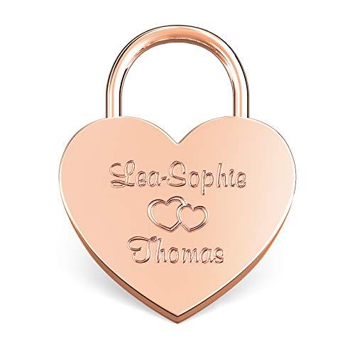 LIEBESSCHLOSS-FACTORY Liebes Herzschloss rosé-gold mit Gravur, gratis Geschenk-Box uvm... Jetzt graviertes Schloss selbst gestalten!