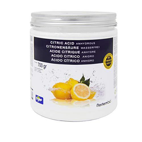 Zitronensäure 700 g, reine Premiumqualität, Wasserfrei Pulver, NortemBio für ökologischen Produktion.