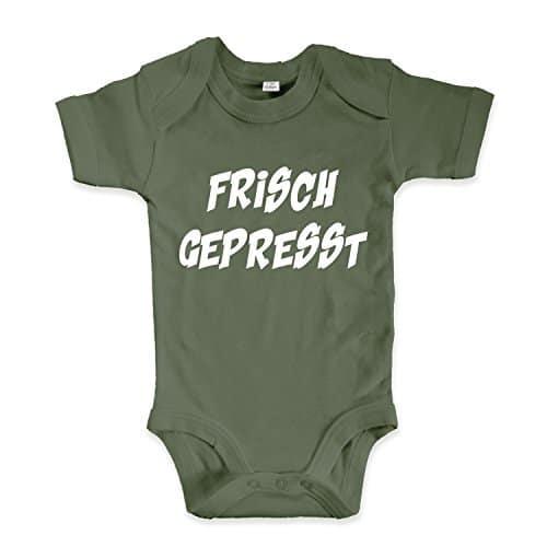 net-shirts Organic Baby Body mit Frisch Gepresst Aufdruck Spruch lustig Strampler Babybekleidung aus Bio-Baumwolle mit Zertifikat, Größe 0-3 Monate, oliv