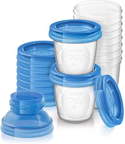 Philips Avent SCF618/10 Aufbewahrungssystem für Muttermilch, 10 x 180 ml Becher inklusive Deckel, Adapter