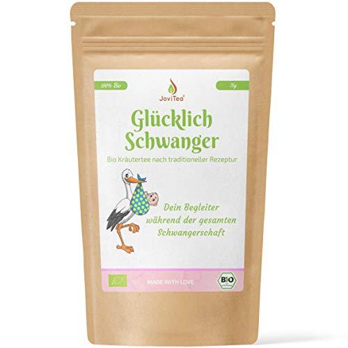 JoviTea® Glücklich Schwanger Tee BIO + Traditionelle Rezeptur + Schwangerschaftstee + geeignet während der Schwangerschaft + 100% natürlich und ohne Zusatz von Zucker - 75g