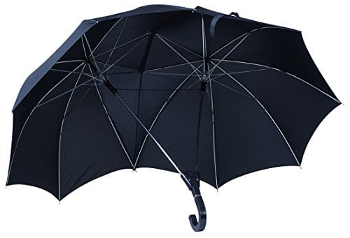 """Regenschirm im """"Liebespaar"""" Design - Schwarz ca. 120 cm Durchmesser - Doppelschirm als Geschenkidee - Grinscard"""