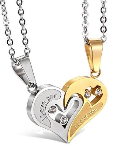 Jstyle Schmuck Halskette Herrenhalskette Freundschaft verliebte Paare Kette mit Gravur Farbe Gold Zirkonia Stein 55cm Kette