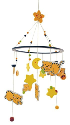 BIECO 3D Baby Mobile Katze Mia aus robustem Holz, viele bunte Figuren erfreuen und beruhigen als Blickfang am Kinderbett, Wickeltisch oder am Spielbogen. 23931322