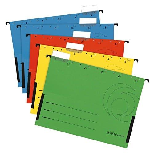 Herlitz 5874755 Hängetasche, seitlich geschlossen, Organisationsdruck, farbig sortiert (20 Stück)