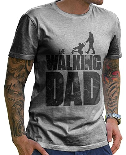 Stylotex Herren T-Shirt Basic The Walking dad , Farbe:heather;Größe:L