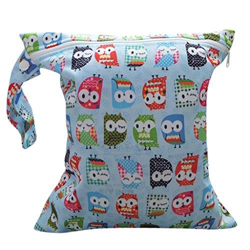 Baby Kleinkind Wasserdichtem Reißverschluss wiederverwendbare Stoff Windel Tasche w / bunte Eulen Muster Hellblau