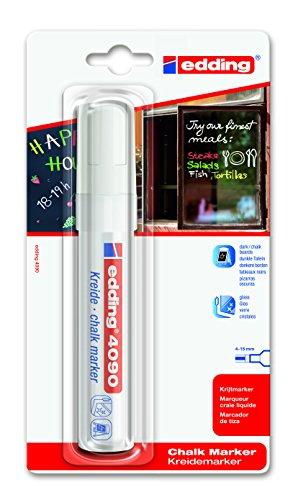 edding 4090 Kreidemarker - Farbe: Weiß - Kreidestift / Fenstermarker - Beschriften von Fenster, Tafel und Glas - Feucht abwischbar - Blisterverpackung