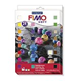 Staedtler 8023 02 Fimo soft Materialpackung, 24 Halbblöcke á 25g, farblich sortiert