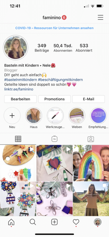 Screenshot Instagram Startseite