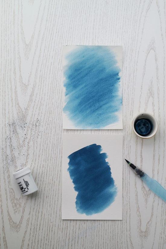 brusho malen auf papier vs farbe auflösen