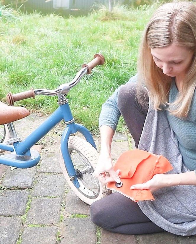 Fahrradtasche Nähanleitung Klett anbringen