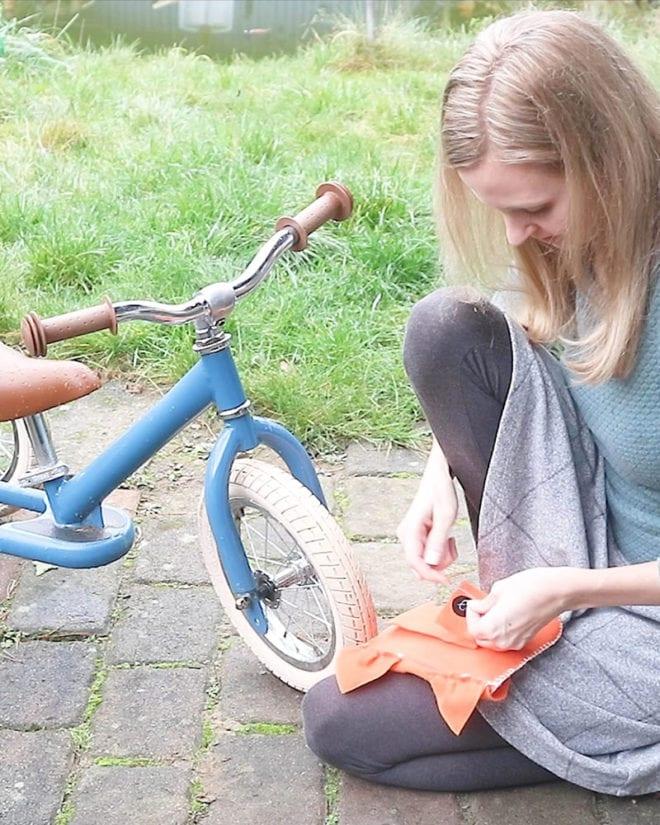 Fahrradtasche Nähanleitung Klett annähen
