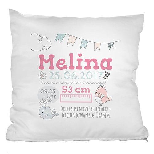 Geschenke zur Geburt personalisiertes Kissen