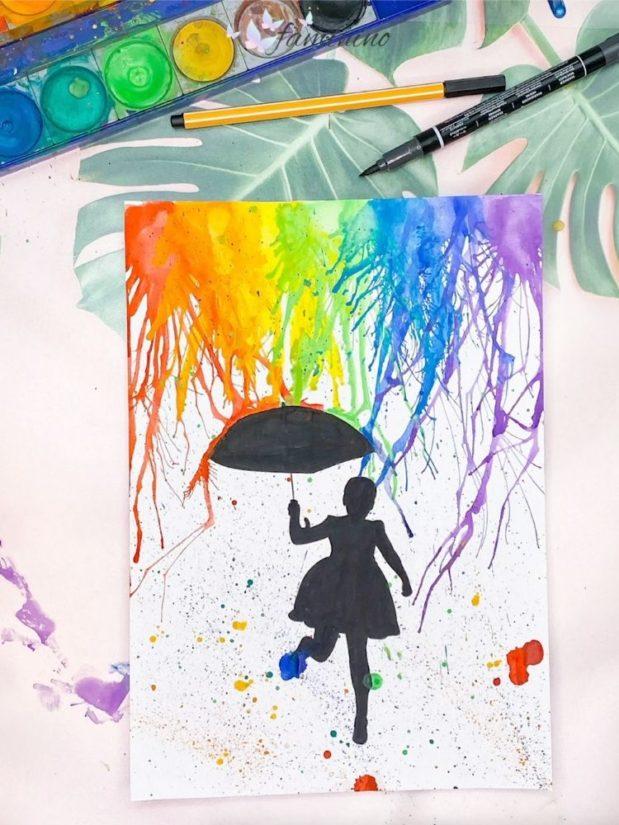 regenbogen regen maedchen